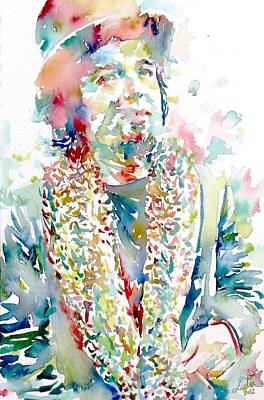 Captain Beefheart Painting - Captain Beefheart Watercolor Portrait.2 by Fabrizio Cassetta