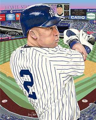 Derek Jeter Digital Art - Captain Clutch by Kenny Phifer