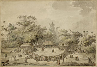 Captain Cook And Chiefs Art Print by British Library