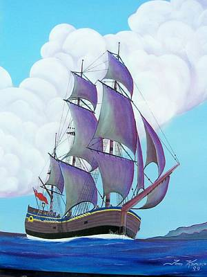 Painting - Captain Cook   Endeavor by Thomas F Kennedy