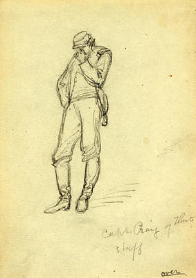 Captain America Drawing Drawing - Captain Craig Of Flints Staff, 1863, Drawing On Cream Paper by Quint Lox