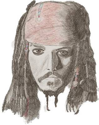 Eye Patch Drawing - Captain Jack by Catherine Roberts