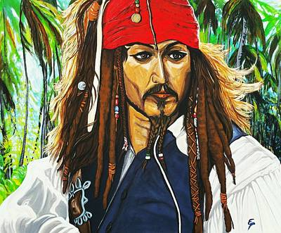Painting - Captain Jack Sparrow by Edward Pebworth
