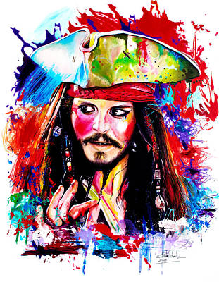 Fine Art India Painting - Captain Jack Sparrow  by Isabel Salvador