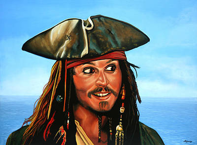 Rolling Stones Wall Art - Painting - Captain Jack Sparrow Painting by Paul Meijering