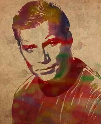 Captain James T Kirk William Shatner Actor Watercolor Portrait On Worn Distressed Canvas Art Print
