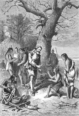 Captain John Smith, Powhatans Captive Print by Photo Researchers