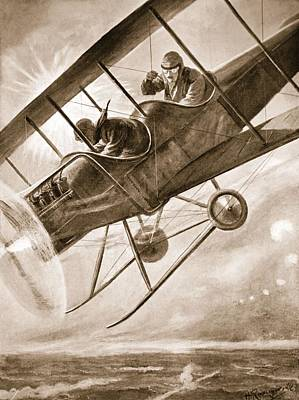 War Hero Drawing - Captain Liddell Piloting His Aeroplane by H. Ripperger
