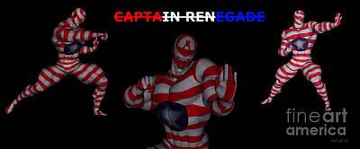 Mixed Media - Captain Renegade Super Hero Combating Crime by R Muirhead Art