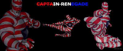 Mixed Media - Captain Renegade Super Hero Flying Karate Kick by R Muirhead Art