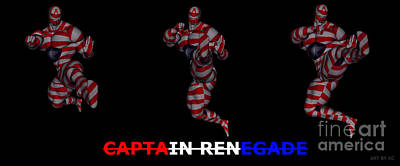 Digital Art - Captain Renegade Super Hero Jumping Karate Kick by R Muirhead Art