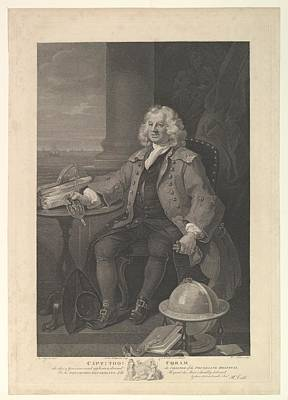 Stipple Drawing - Captain Thomas Coram by After William Hogarth