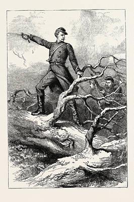 Struggles Drawing - Captain Winthrop At Big Bethel, The Battle Of Big Bethel by English School