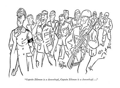 Pow Pow Drawing - Captain Ziltman Is A Dummkopf by George Price