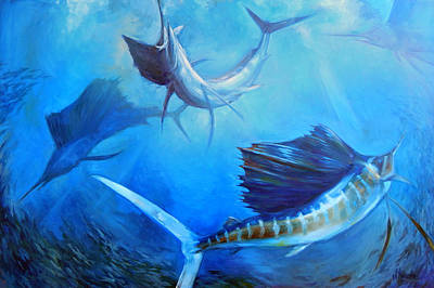 Sailfish Painting - Captain's Dream by Tom Dauria