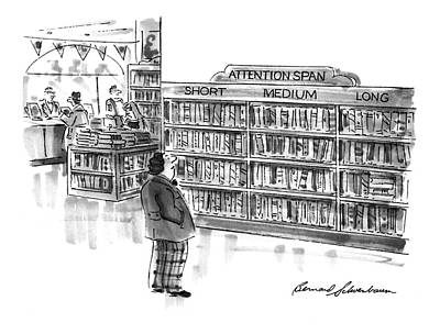 Bookshop Drawing - Captionless A Library Book Shelf Is Divided by Bernard Schoenbaum