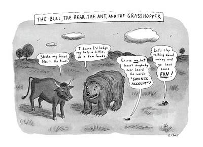 Grasshopper Drawing - Captionless The Bull by Roz Chast