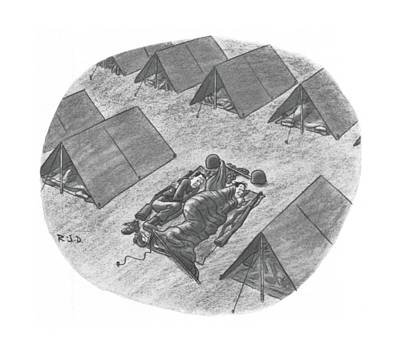 Captionless Top Has Blown Off Tent. Two Soldiers Art Print