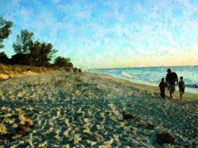Beach Landscape Mixed Media - Captiva Beach Walk by Florene Welebny