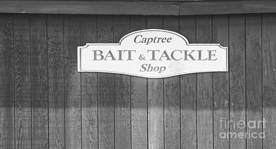 Photograph - Captree Bait And Tackle Shop In Black And White by John Telfer
