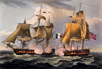 Boat Drawing - Capture Of Castor by Thomas Whitcombe