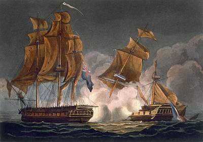 Sailing Drawing - Capture Of La Tribune by Thomas Whitcombe