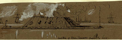 Tennessee Drawing - Capture Of Ram Tennessee Mobile Bay, Drawing, 1862-1865 by Quint Lox