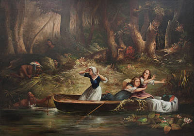 Indian River Digital Art - Capture Of The Callaway Girls by Karl Bodmer