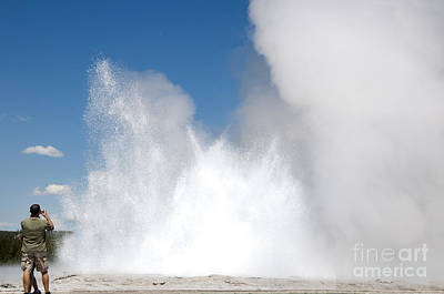 Photograph - Capturing A Geyser by Brenda Kean