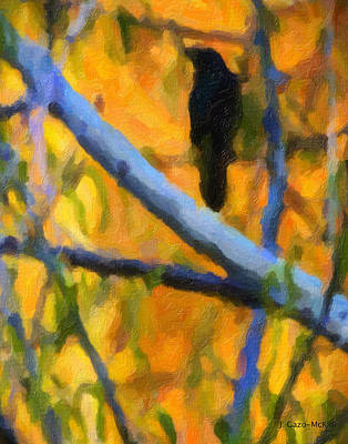 Starlings Painting - Capturing The Golden Glow by Jo-Anne Gazo-McKim