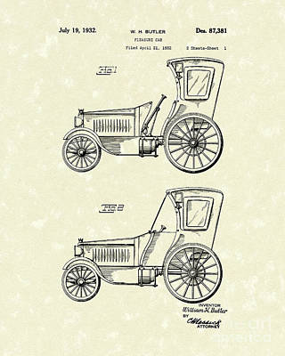 Cars Drawing - Car 1932 Patent Art by Prior Art Design