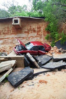 Pensacola Photograph - Car And Road Washed Out By Flooding by Jim Edds