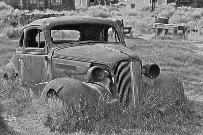 Photograph - Car At Bodie In Black And White by SC Heffner