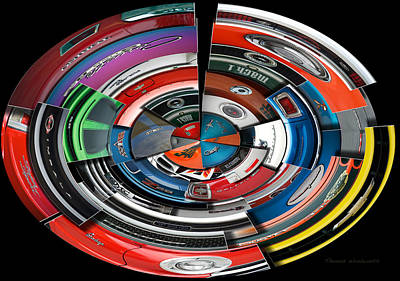 Challenger Digital Art - Car Badges Collage Polar View by Thomas Woolworth