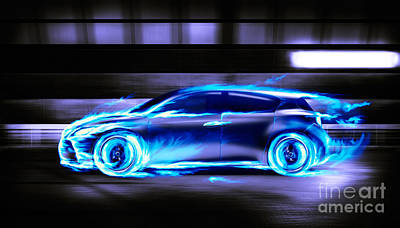 Sportscar Photograph - Car Burning In Blue Flames Racing In A Tunnel by Oleksiy Maksymenko