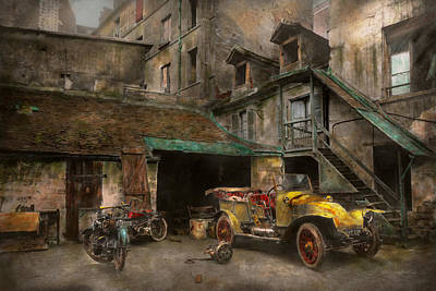 Photograph - Car - Cour Rue De Valencemm France - A Sunday Afternoon - 1925 by Mike Savad