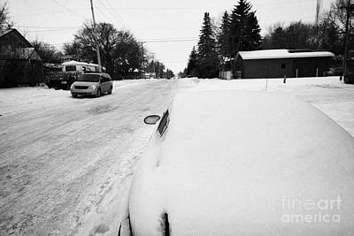 car covered in snow parked by the side of the street pleasant hill Saskatoon Saskatchewan Canada Art Print