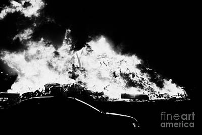 car driving past 11th night bonfire in Monkstown Art Print