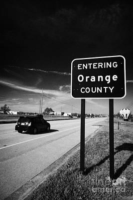 Car Entering Orange County On The Us 192 Highway Near Orlando Florida Usa Art Print by Joe Fox
