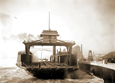 Detroit Drawing - Car Ferry, Transport, Detroit River, Transport Ferry by Litz Collection