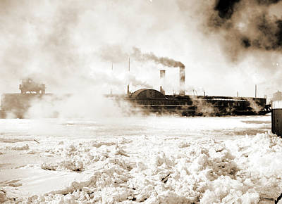 Car Ferry Turning In Ice, Detroit River, Michigan Central Print by Litz Collection