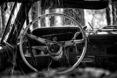 Photograph - Car In The Woods In Black And White by Greg Mimbs