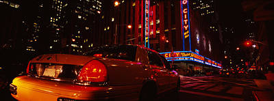 Car On A Road, Radio City Music Hall Print by Panoramic Images