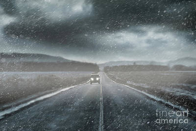 Car On Rural Road In Early Winter Art Print by Sandra Cunningham