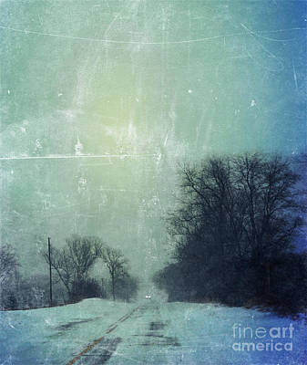 Car On Snowy Road At Dusk Art Print