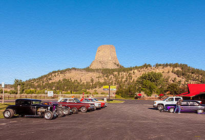 Photograph - Car Show At Devils Tower by John M Bailey