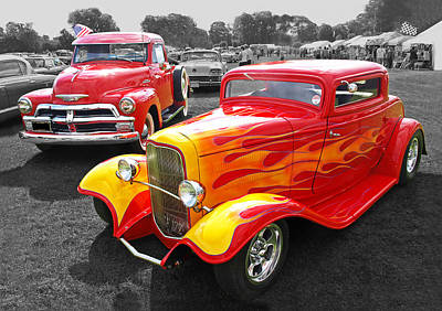 Photograph - Car Show Fever - 54 Chevy With A 32 Ford Coupe Hot Rod by Gill Billington