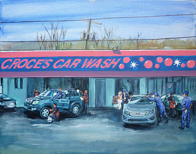 Painting - Car Wash Blues by Bryan Bustard