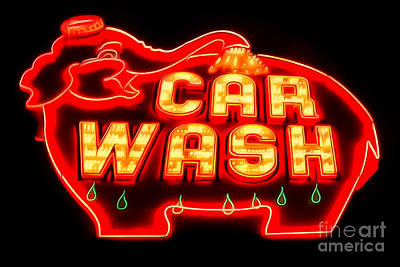 Car Wash Photograph - Car Wash Neon Sign by Brian Mollenkopf