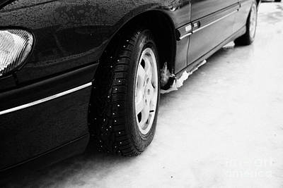 Ice Spikes Photograph - Car With Studded Winter Tyres On Ice Norway Europe by Joe Fox